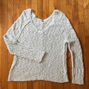 Free People Mint Songbird Shaggy Bear Boho Sweater